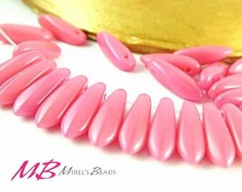 50 Small Dagger Beads, Pink Czech Glass 3x11mm