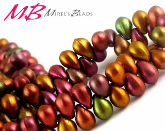 50 Tiny Teardrop Beads, 7x5mm Metalic Mix Czech Glass Beads