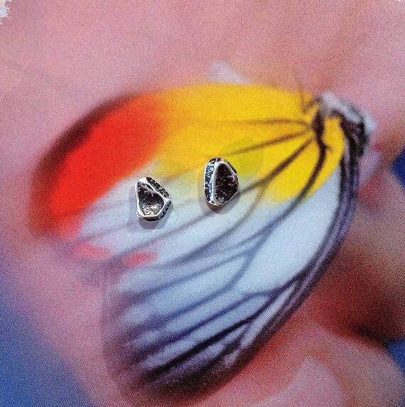 Sterling Silver Studs Earrings, Oxidized Silver | Rustic Studs | Asymmetrical Earrings | Everyday Earrings | Urban Post Earrings | OOAK