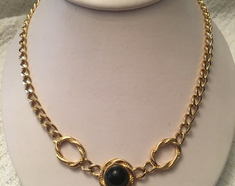 Monet Gold Tone Chain with Black Cabochon Choker Necklace, Gold Necklace with Black Center, Gold Choker Necklace with Black Cabochon, Monet
