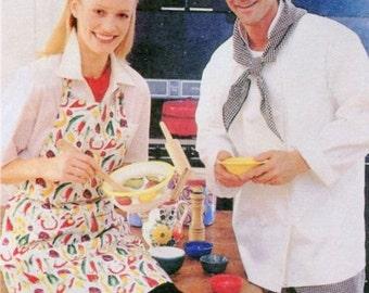 1990s McCalls 2233 Chef Uniform Essentials Sewing Pattern Mens Misses Apron Jacket Shirt Pants Toque Hat Size XL 46 to 48 UNCUT