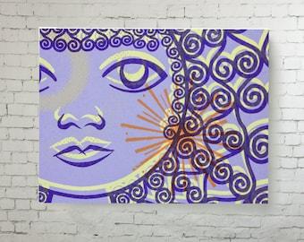 Wall Art Canvas print, Lilac Canvas digital reproduction ready to hang, abstract design