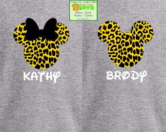 Leopard on mickey, Disney family shirts, Disney World shirts, Disneyland shirts, personalized shirts