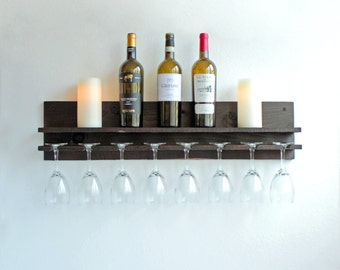 Rustic Wood Wine Rack | Shelf & Hanging Stemware Glass Holder | Bar Organizer