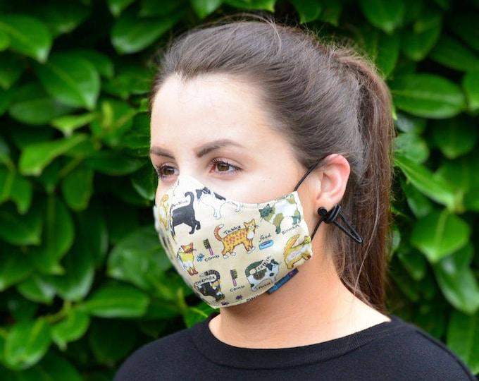 MASKERAID Feline Friends Reusable Cotton Face Mask