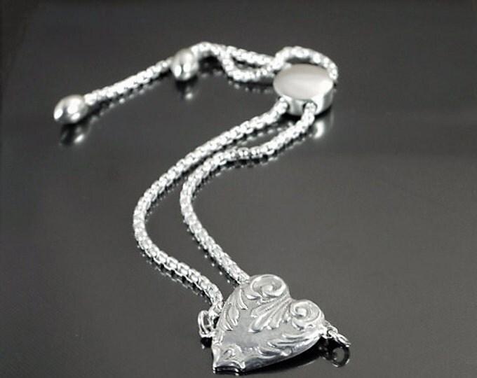 Heart Bracelet, Silver Heart Bracelet, Sterling Heart Bracelet, Dainty Heart Bracelet, Silver Heart, Love Bracelet, Christmas Gift for Her