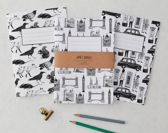London Notebook set of 3: London Buildings, Animals and Icons, stationery set, exercise book