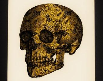 Golden Skull, fine art print on aged quality textured 300gr paper
