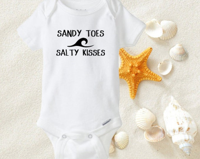 Sandy Toes and Salty Kisses Onesies®, Beach Bodysuit, Hawaii Baby, Island Baby, Surfer boy, Beach Baby, Baby Shower Gift, Baby Boy