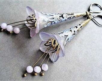 Flower Earrings Statement Jewelry Lavender Earrings Floral Jewelry Long Earrings Purple Jewelry Victorian Earrings Gift Idea Purple Earrings