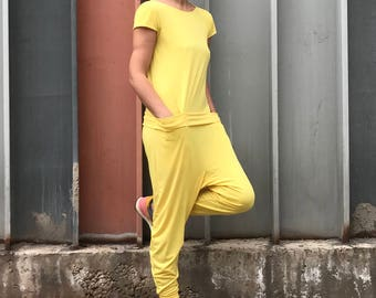 Women Jumpsuit, Womens Romper, Yellow Jumpsuit, Yellow Overall, Open Back Top, Yellow Romper, Short Sleeve Romper, Minimalist Jumpsuit