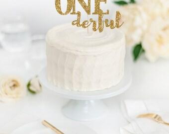 Mr One-derful Cake Topper - First Birthday Decor - Smash Cake Topper - Smash Cake Party Prop - Baby Boy's First Birthday - I Am One Decor