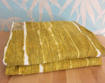 """Pair of 1960s Heals """"Echelon"""" by Nicola Wood mustard-coloured curtains"""
