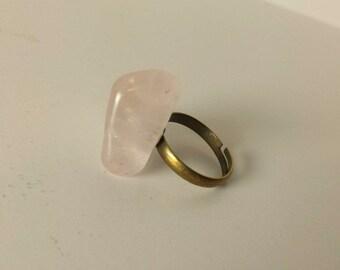 Rose Quartz Ring, Gemstone Ring, Tumbled Rose Quartz Ring, Adjustable Ring, Gemstone Jewelry, Crystal Ring - 00221
