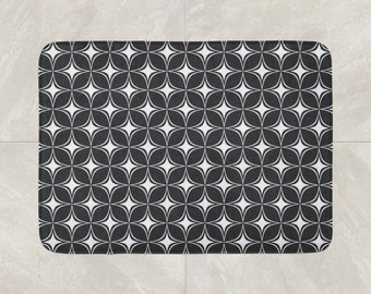 Geometric Bath Mat, Foam Bath Rug, Modern Bath Mat, Black White Bathroom Decor, Diamond Pattern Bath Rug, Checkered Bath Mat