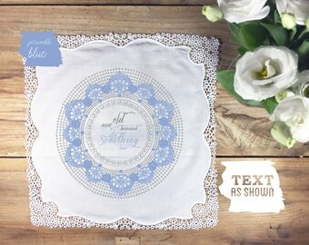 Something blue wedding handkerchief gift, periwinkle blue bridal wedding handkerchief, bride blue handkerchief, something blue bride
