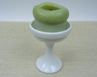Westmoreland Milk Glass Pedestal Candle Holder // Candy Dish // Cottage Vintage Home Decor