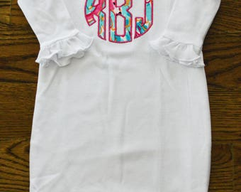 Lilly Pulitzer Ruffled Infant Gown with Block Monogram Applique-You Pick The Print!