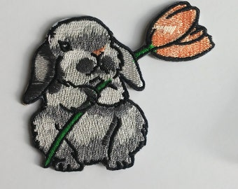 Bunny patch Iron on patch Animal applique Flower patch LENGTH 2.4 in 6 cm Large patch Small Iron on patch