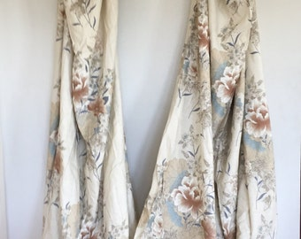 """2 Floral Window Curtains - Cream Asian Pleated Long Drapes - Shabby Chic Window Drapes - Asian Curtain Panels - 80"""" 6 Ft Curtain Panels"""