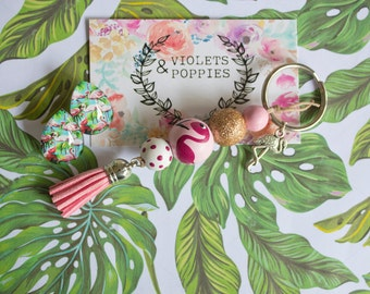 Flamingo Tropical Wooden Bead Keyring Keychain, Hand Painted, Rose Gold Glitter, Pink Tassel, Purse Charm Women, Gift, Anniversary Sparkly