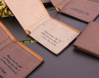 Engraved Wallet, Monogram Wallet, Custom Wallet, Engraved Leather Wallet, Brown, Personalized Wallet, Mens Gift, Husband Gift, Boyfriend