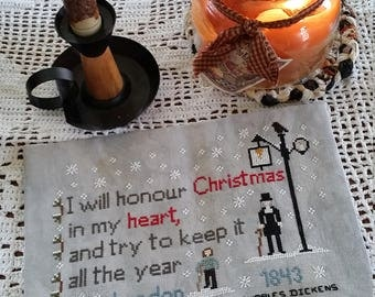Pattern, Dickens A Christmas Carol, Charles Dickens,  ,  1800,s  cross stitch pattern, A Christmas Carol quote, Keep Christmas in My Heart