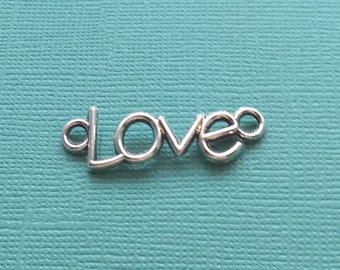 10 Love Word Connector Charms Silver - CS2591