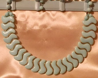 Vintage 1960's Light Blue and Gold S-Pattern Choker Statement Necklace
