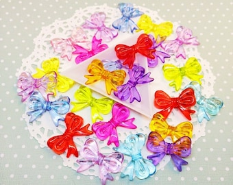 12pc Large Translucent Bow Assorted Color 30mm Kawaii Beads Acrylic Plastic Bead Mix Jewelry Craft DIY