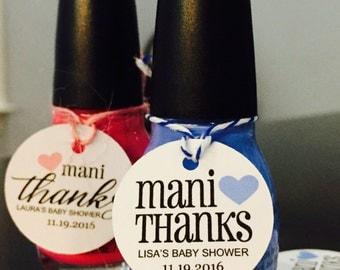 Nail Polish Tags, Mani Thanks, Thank You Tags, Favor Tags, Shower Tags, Baby Shower Tags, Bridal Shower Tags, Mani Tags, Mani Favor, 15