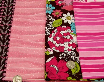 Brown & pink cotton quilting prints, cotton fabric bundle, coordinating stripes and floral ,fabric stash,  pink blenders, fabric remnants