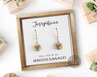 Dainty earrings, Bridesmaid proposal earrings,  Crystal earrings, Beaded earrings, Simple earrings, Triangle earrings, Sweet sixteen