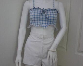 White high waisted shorts, 1970's vintage shorts, high waist shorts, festival shorts, summer shorts, 70's clothes, holiday shorts,