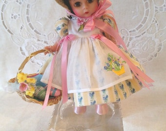 "Madame Alexander ""Easter Bonnet"" Brunette, Special Memories 8"" Doll HTF Restrung, Accessories, Box and Wrist Tag"