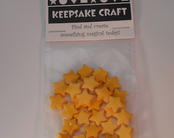 """30 x Yellow Star beads (4.5 grams approx)  9mm x 9mm ( 3/8""""x 3/8"""") Acrylic Beads"""