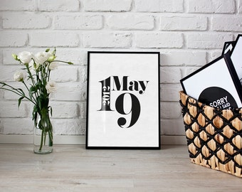 Personalised date print - typography print - anniversary print - date print - wedding print - paper anniversary - valentines, new home print