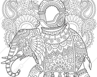 adult coloring pages elephant zentangle doodle coloring book page for adults digital illustration - Coloring Page Elephant Design