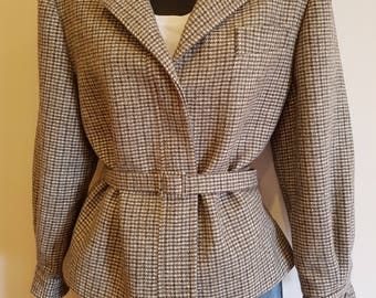 80s 90s Cropped Houndstooth Pure Wool Plaid  Tweed Jacket Size Medium