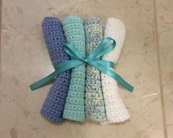 Handmade crochet cotton wash cloth, dish cloth, baby washcloth, wipe, face cloth Set of 4