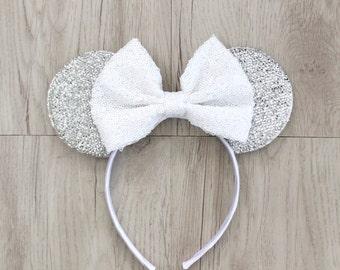 Minnie Mouse Ears, Mickey Mouse Ears, Minnie Ears, Mickey Ears, Disney Ears, White Sequin Bow, Silver Disneyland Ears, Disney World, Disney