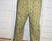 Vintage Green 70's Pajama Pants Bottoms M