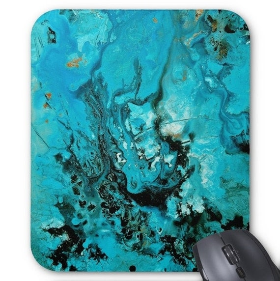 Mousepad Mouse Pad Fine Art Painting Abstract Turquoise Ocean Fine Art Contemporary Modern Blue Green Gold Water Liquid Flow Art Blue Black