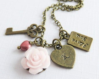 Personalized pale pink flower necklace, charm necklaces, little girl gift, country wedding jewelry, pink rose jewelry, rustic jewelry