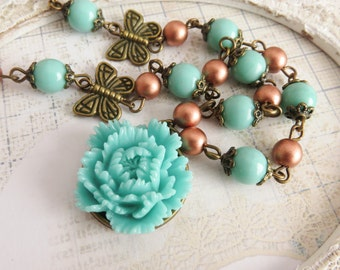 Turquoise flower necklace, beaded necklaces, blue rustic jewelry, short butterfly necklace, gift for her, bohemian style, bronze jewelry