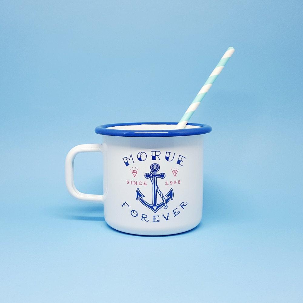 Extrêmement Mug Émaillé Morue Forever émail bleu et blanc UV28