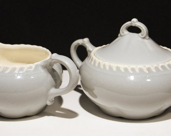 "Harker Pottery ""Chesterton"" Royal Gadroon Light Grey Creamer & Covered Sugar"