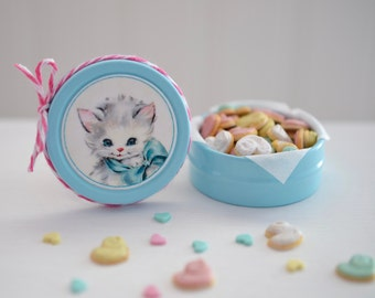 Sweet Petite Play Scale Kitschy Kitty Cookie Tin in Aqua/Blue