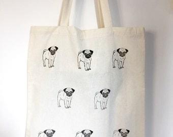 Pug Tote Bag | Dog print bag | Reusable shopper bag | Dog lover gift | canvas tote | black pug | shoulder bag | shopping bag | market bag |