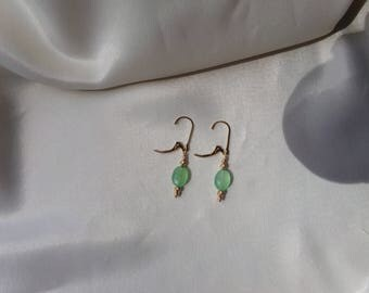 Chrysoprase briolette 14k Solid gold leverback with diamondcut ornaments earrings gemstone interchangeable item 957